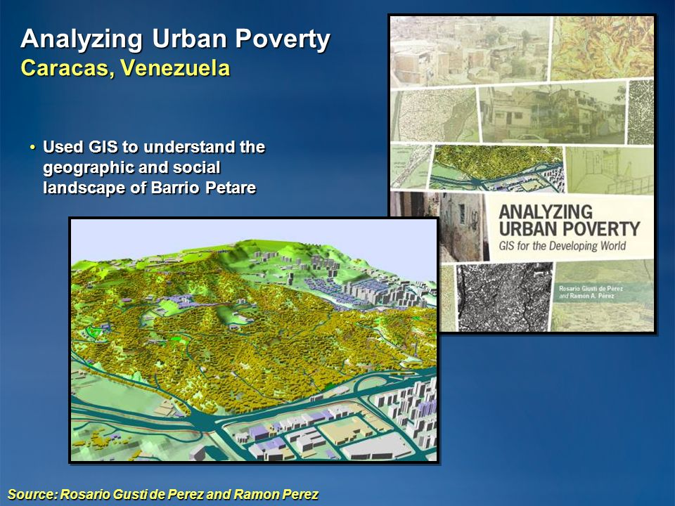 Source: Rosario Gusti de Perez and Ramon Perez Used GIS to understand the geographic and social landscape of Barrio PetareUsed GIS to understand the g