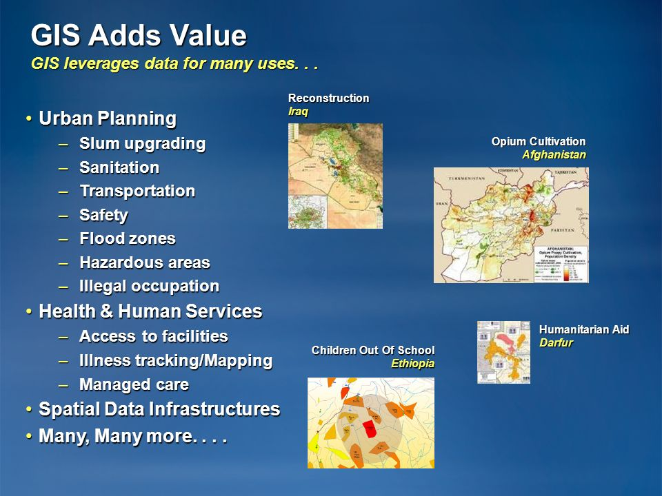 GIS Adds Value GIS leverages data for many uses... Urban PlanningUrban Planning –Slum upgrading –Sanitation –Transportation –Safety –Flood zones –Haza