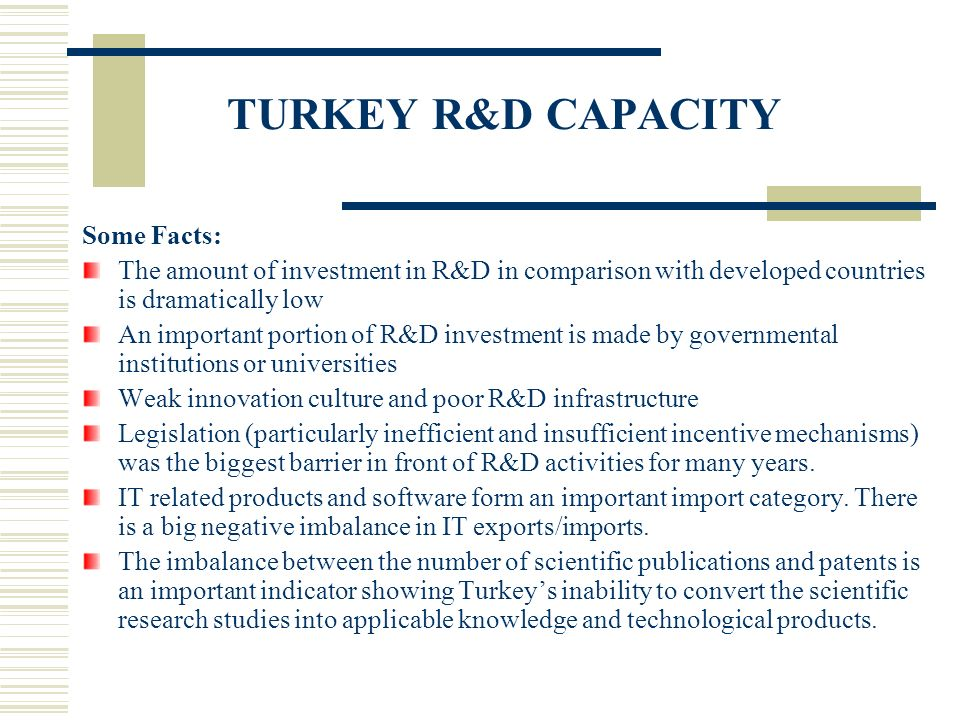 TURKEY R&D CAPACITY Some Facts: The amount of investment in R&D in comparison with developed countries is dramatically low An important portion of R&D