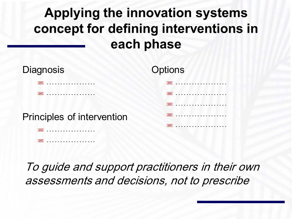 Applying the innovation systems concept for defining interventions in each phase Diagnosis ;……………… Principles of intervention ;……………… Options ;……………….