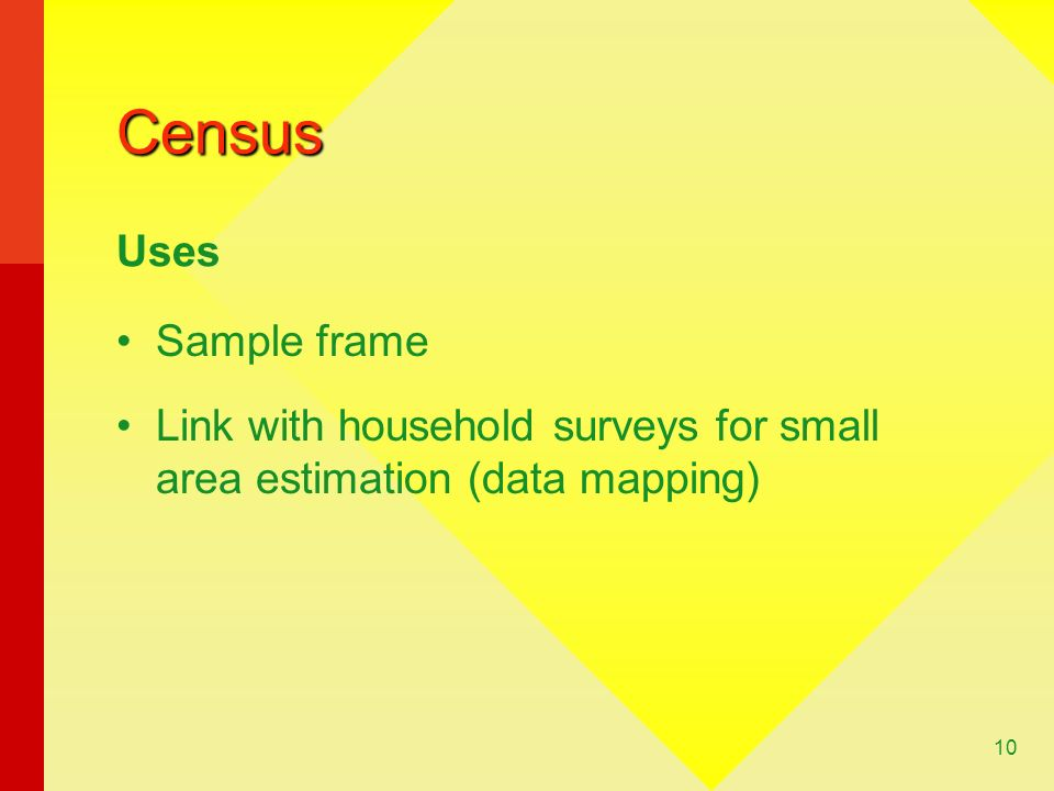 10 Census Sample frame Link with household surveys for small area estimation (data mapping) Uses