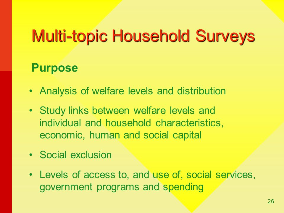 26 Multi-topic Household Surveys Analysis of welfare levels and distribution Study links between welfare levels and individual and household characteristics, economic, human and social capital Social exclusion Levels of access to, and use of, social services, government programs and spending Purpose