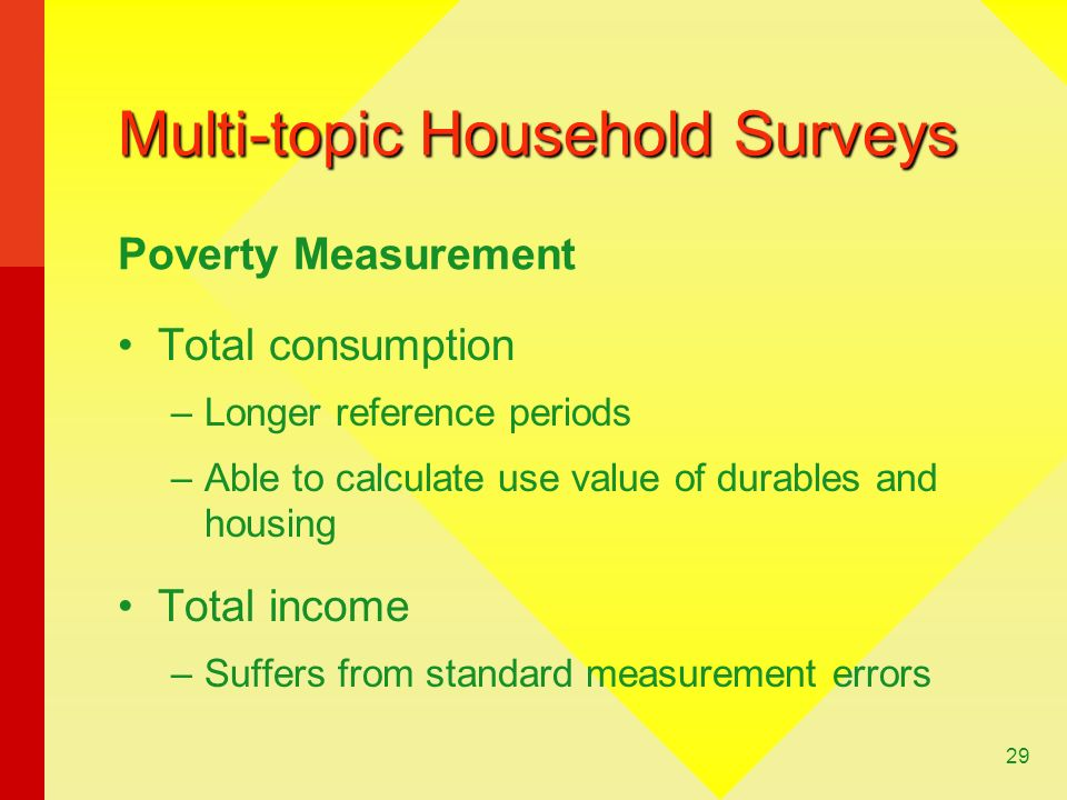29 Multi-topic Household Surveys Total consumption –Longer reference periods –Able to calculate use value of durables and housing Total income –Suffers from standard measurement errors Poverty Measurement