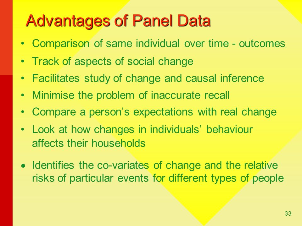 33 Advantages of Panel Data Comparison of same individual over time - outcomes Track of aspects of social change Facilitates study of change and causal inference Minimise the problem of inaccurate recall Compare a persons expectations with real change Look at how changes in individuals behaviour affects their households Identifies the co-variates of change and the relative risks of particular events for different types of people