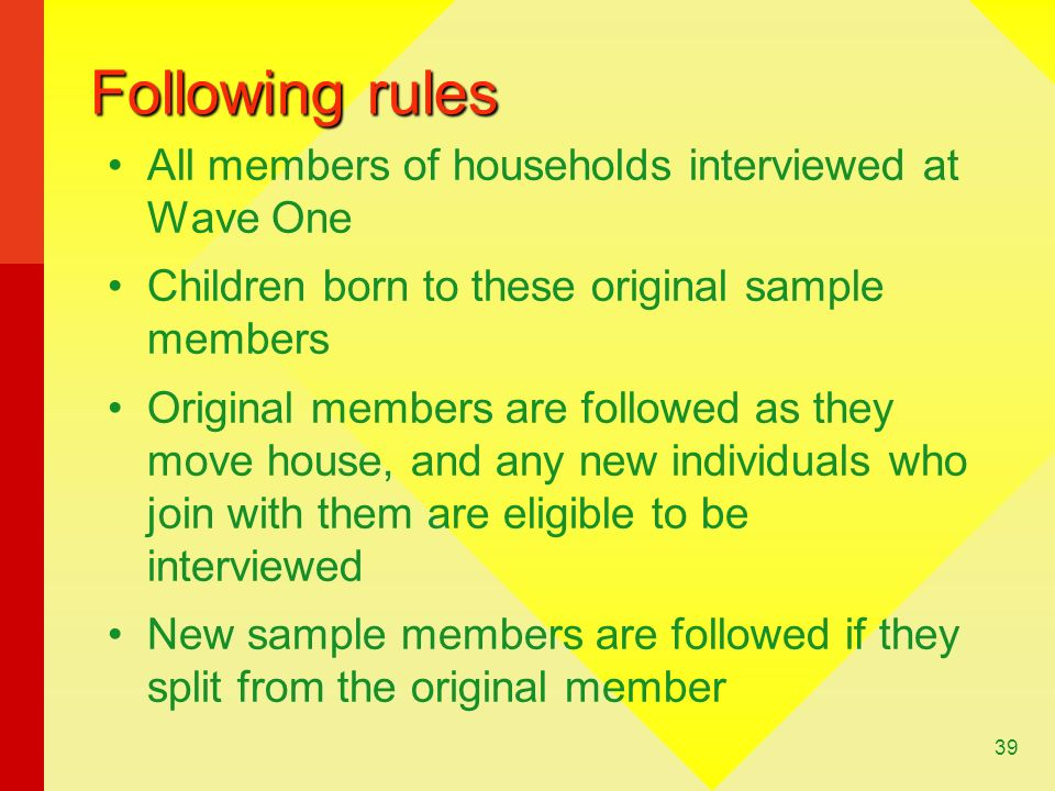 39 Following rules All members of households interviewed at Wave One Children born to these original sample members Original members are followed as they move house, and any new individuals who join with them are eligible to be interviewed New sample members are followed if they split from the original member