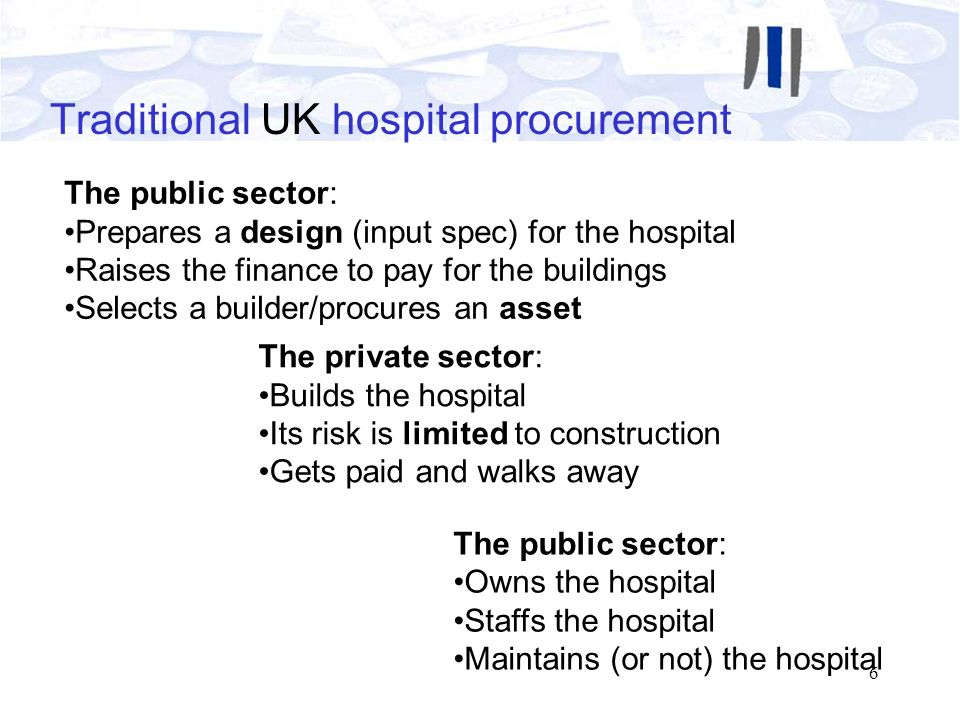 6 Traditional UK hospital procurement The public sector: Prepares a design (input spec) for the hospital Raises the finance to pay for the buildings S