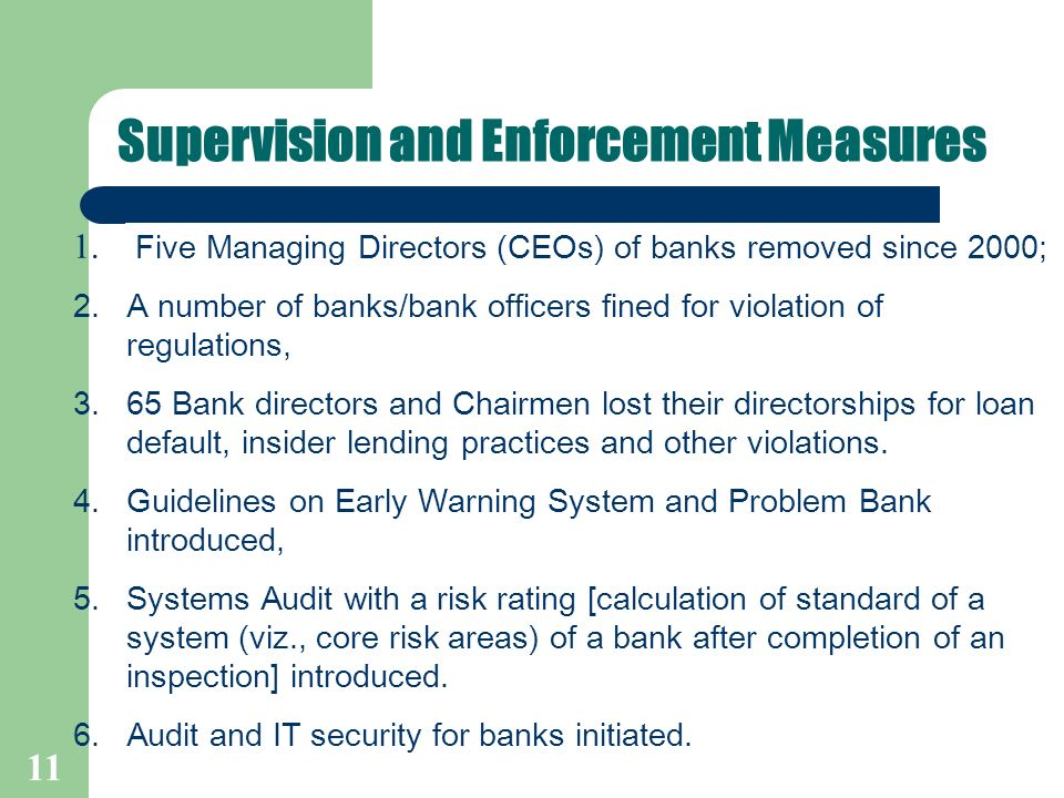 11 Supervision and Enforcement Measures 1.