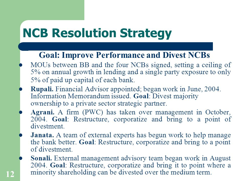 12 NCB Resolution Strategy Goal: Improve Performance and Divest NCBs MOUs between BB and the four NCBs signed, setting a ceiling of 5% on annual growth in lending and a single party exposure to only 5% of paid up capital of each bank.