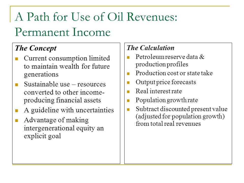 A Path for Use of Oil Revenues: Permanent Income The Concept Current consumption limited to maintain wealth for future generations Sustainable use – r
