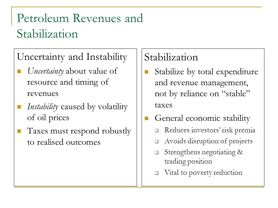 Petroleum Revenues and Stabilization Uncertainty and Instability Uncertainty about value of resource and timing of revenues Instability caused by vola