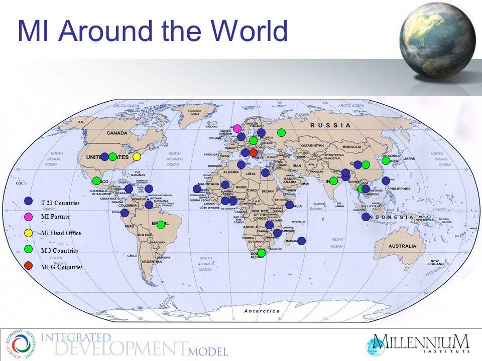 MI Around the World T 21 Countries MI Partner MI Head Office M 3 Countries MEG Countries