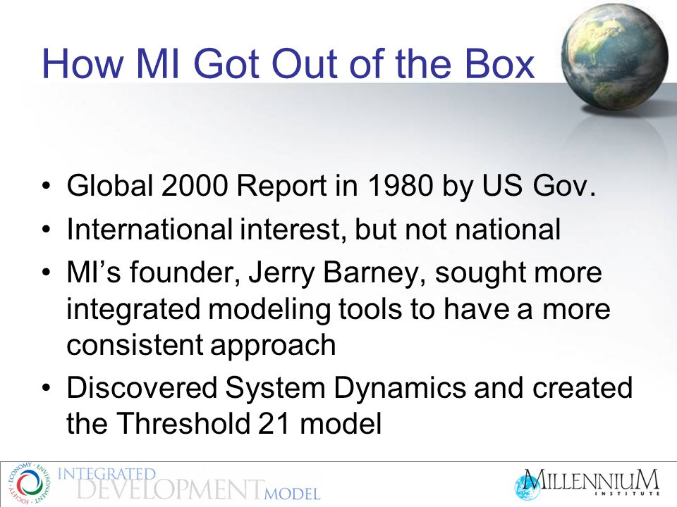 How MI Got Out of the Box Global 2000 Report in 1980 by US Gov.