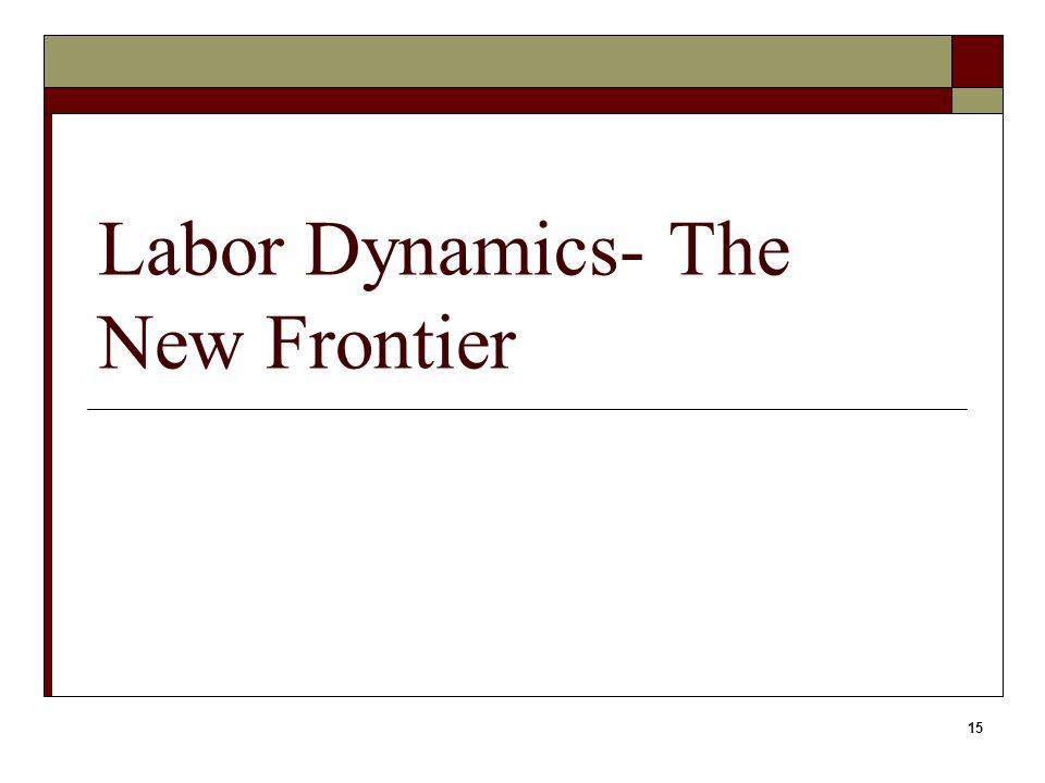 15 Labor Dynamics- The New Frontier