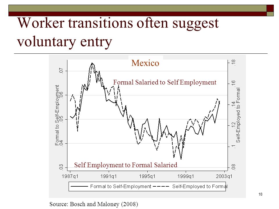 18 Worker transitions often suggest voluntary entry Mexico Self Employment to Formal Salaried Formal Salaried to Self Employment Source: Bosch and Maloney (2008)