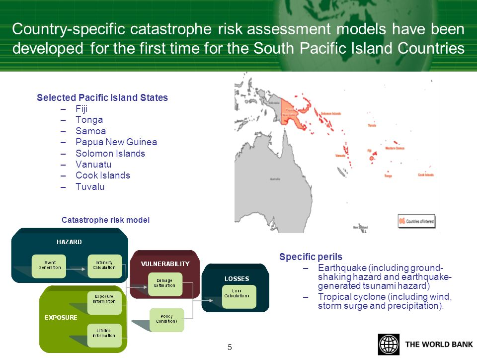 Country-specific catastrophe risk assessment models have been developed for the first time for the South Pacific Island Countries Selected Pacific Isl