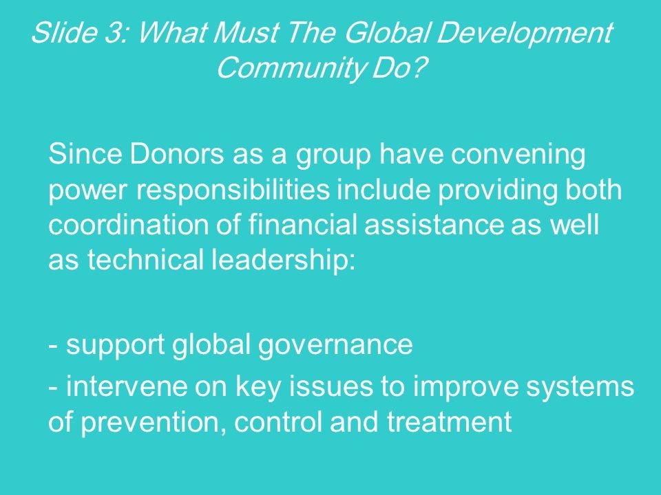 Slide 3: What Must The Global Development Community Do.