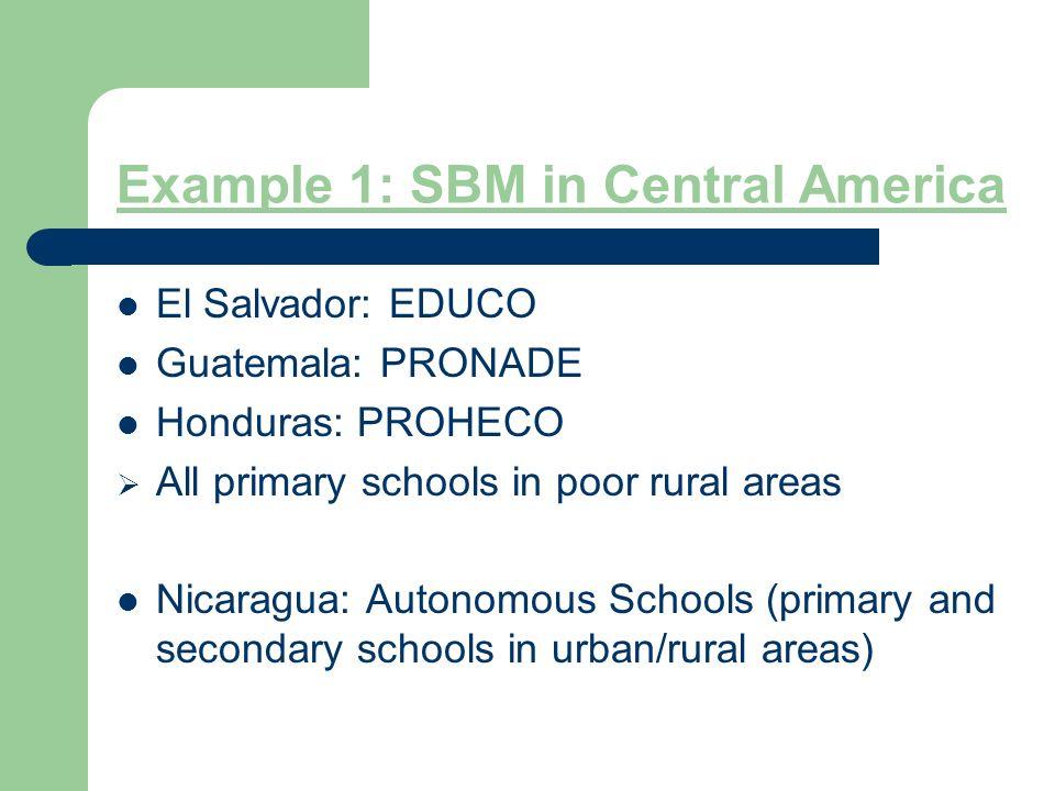 Example 1: SBM in Central America El Salvador: EDUCO Guatemala: PRONADE Honduras: PROHECO All primary schools in poor rural areas Nicaragua: Autonomous Schools (primary and secondary schools in urban/rural areas)