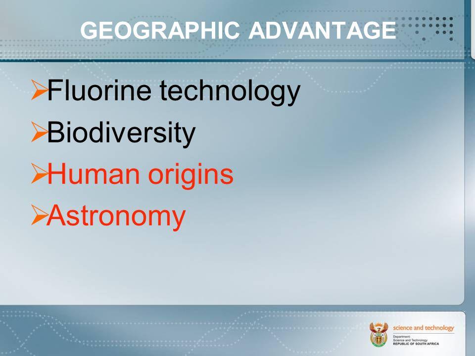 GEOGRAPHIC ADVANTAGE Fluorine technology Biodiversity Human origins Astronomy