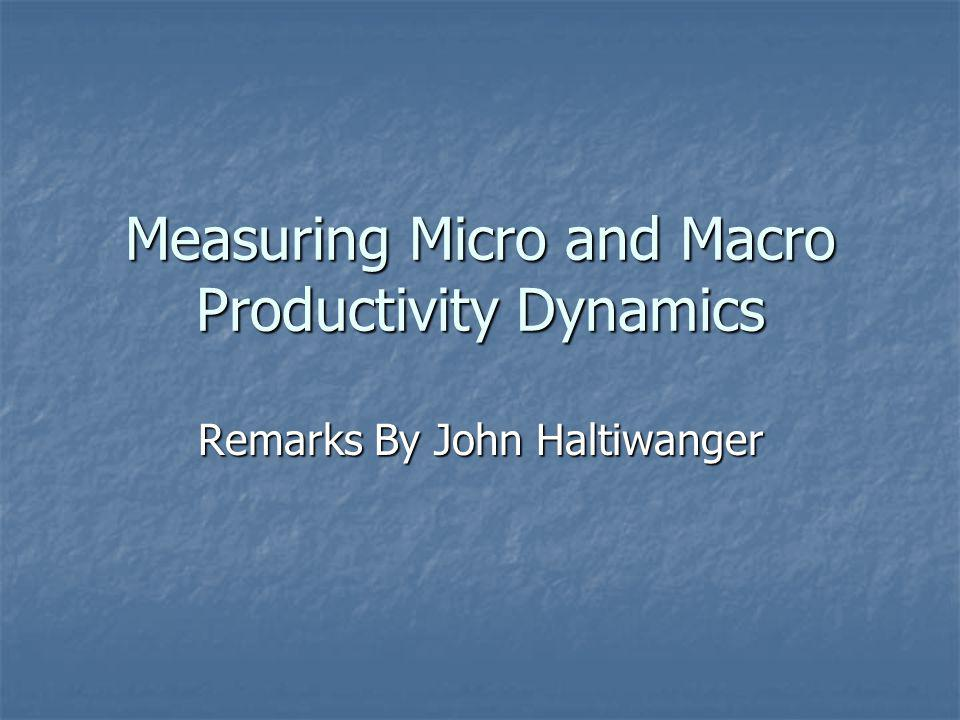 Measuring Micro and Macro Productivity Dynamics Remarks By John Haltiwanger