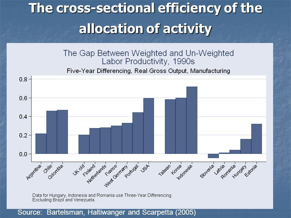 The cross-sectional efficiency of the allocation of activity Source: Bartelsman, Haltiwanger and Scarpetta (2005)