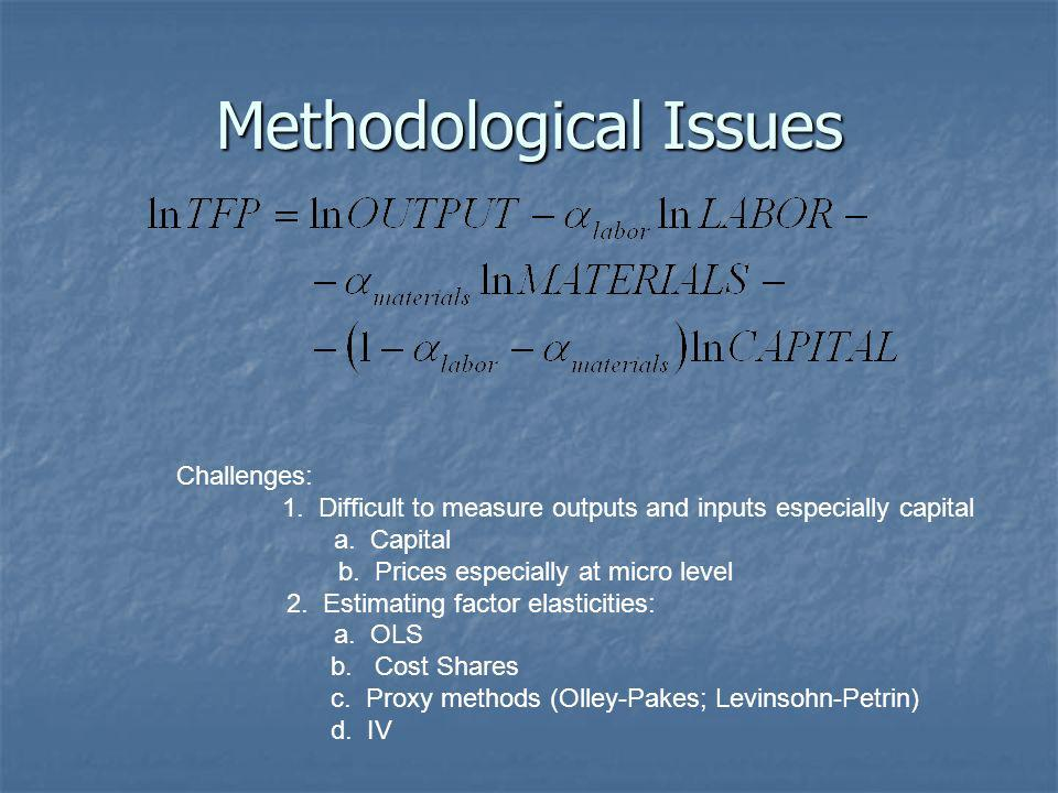 Methodological Issues Challenges: 1. Difficult to measure outputs and inputs especially capital a.