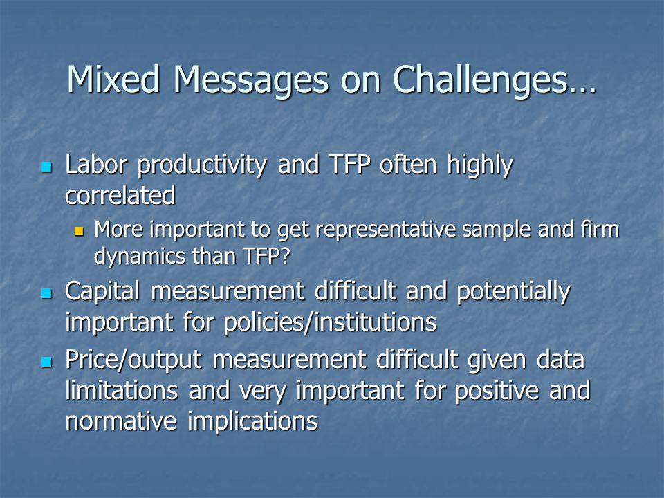 Mixed Messages on Challenges… Labor productivity and TFP often highly correlated Labor productivity and TFP often highly correlated More important to get representative sample and firm dynamics than TFP.