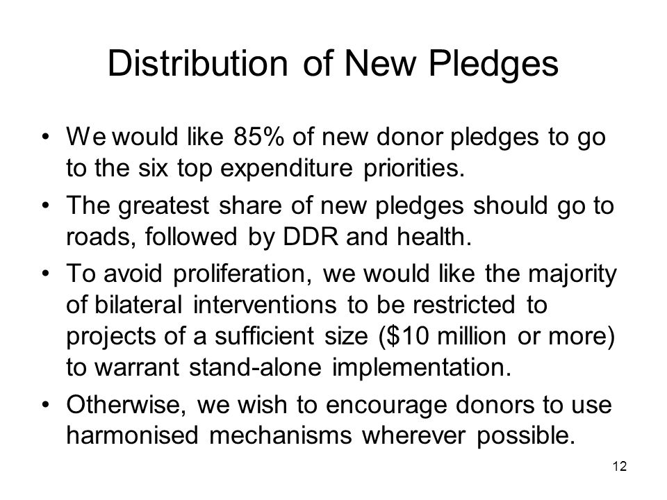 12 Distribution of New Pledges We would like 85% of new donor pledges to go to the six top expenditure priorities.