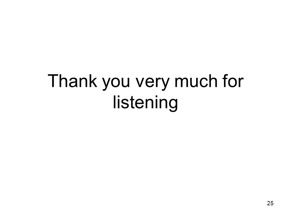 25 Thank you very much for listening