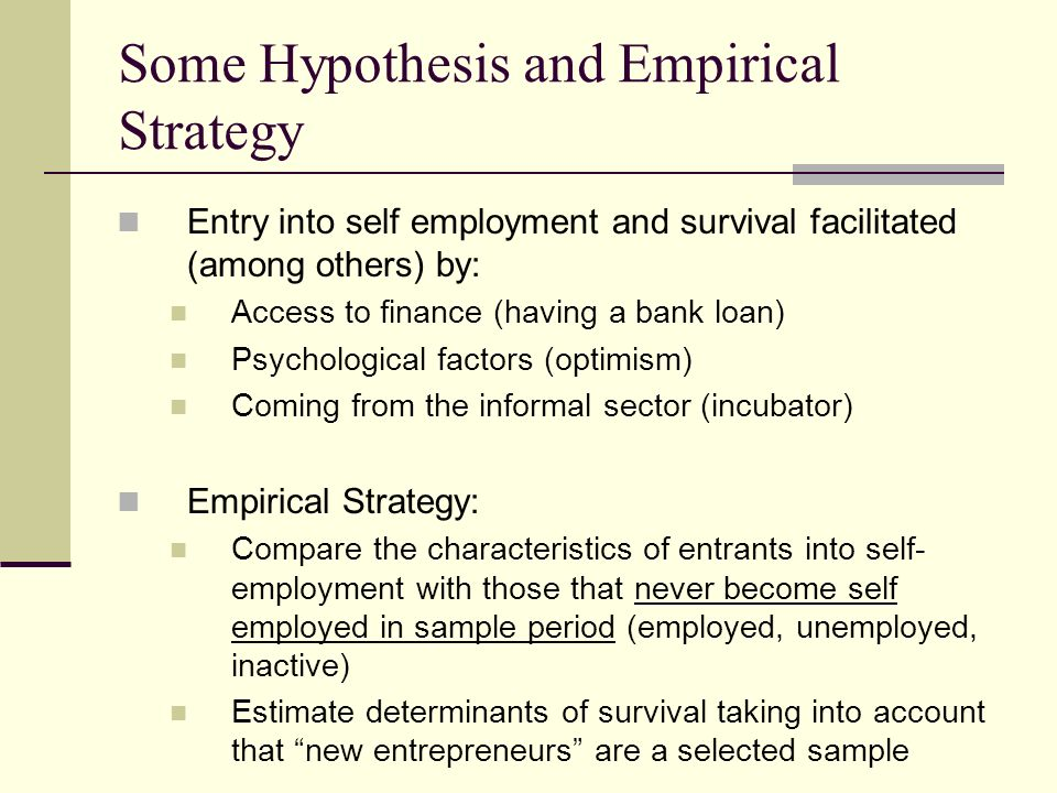 Some Hypothesis and Empirical Strategy Entry into self employment and survival facilitated (among others) by: Access to finance (having a bank loan) P