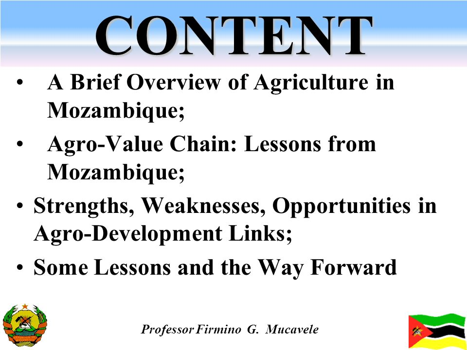CONTENT A Brief Overview of Agriculture in Mozambique; Agro-Value Chain: Lessons from Mozambique; Strengths, Weaknesses, Opportunities in Agro-Develop