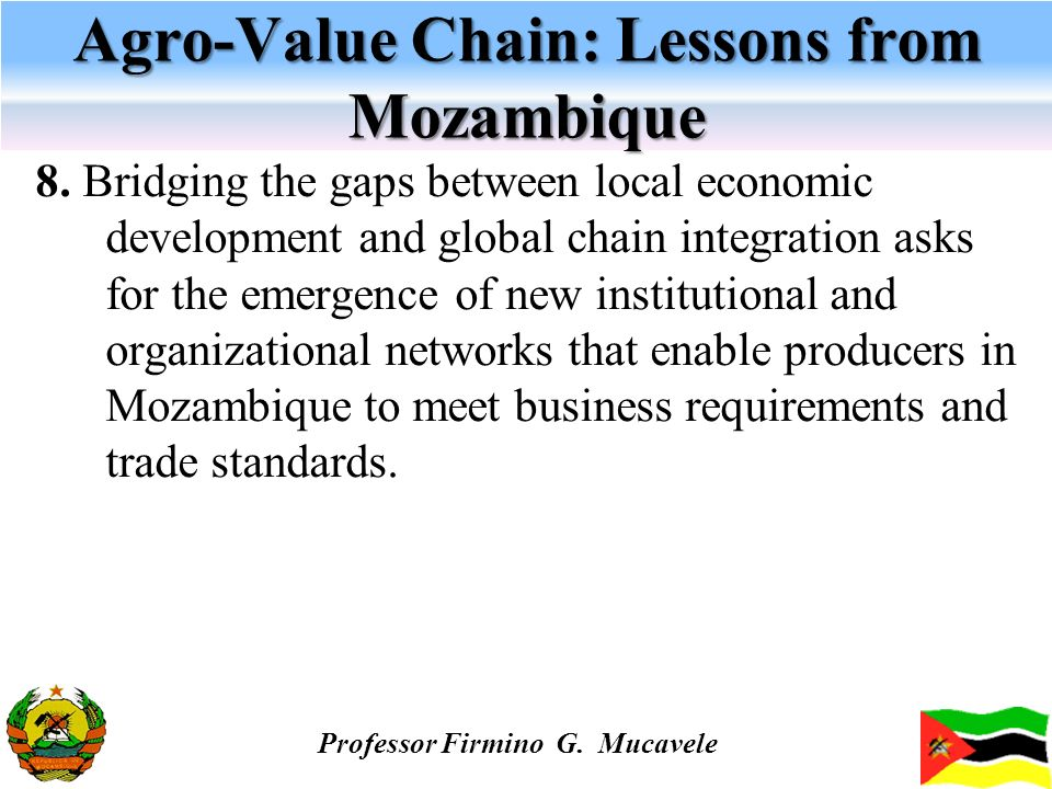 Agro-Value Chain: Lessons from Mozambique 8. Bridging the gaps between local economic development and global chain integration asks for the emergence