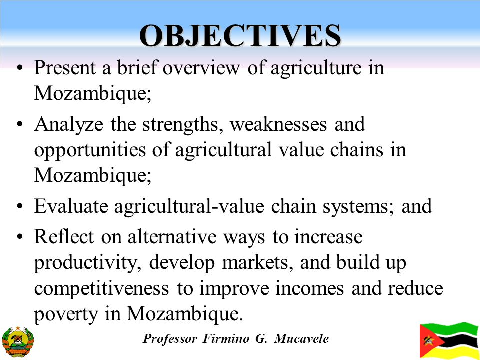 OBJECTIVES Present a brief overview of agriculture in Mozambique; Analyze the strengths, weaknesses and opportunities of agricultural value chains in