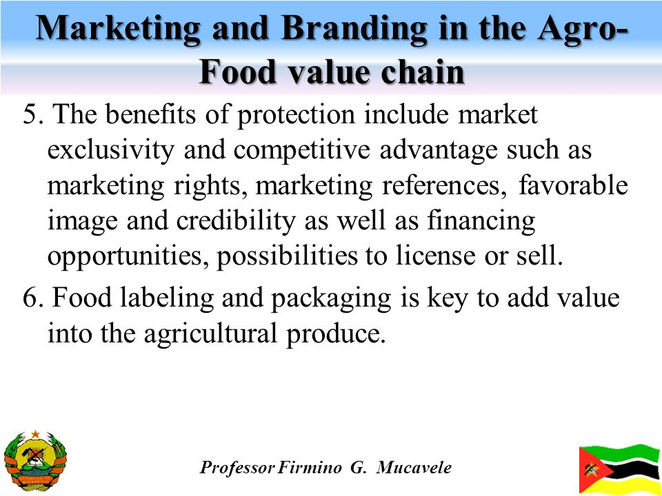 Marketing and Branding in the Agro- Food value chain 5. The benefits of protection include market exclusivity and competitive advantage such as market