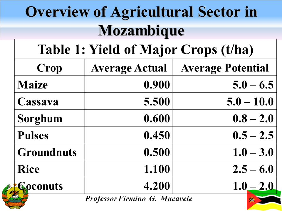 Overview of Agricultural Sector in Mozambique Professor Firmino G. Mucavele Table 1: Yield of Major Crops (t/ha) CropAverage ActualAverage Potential M