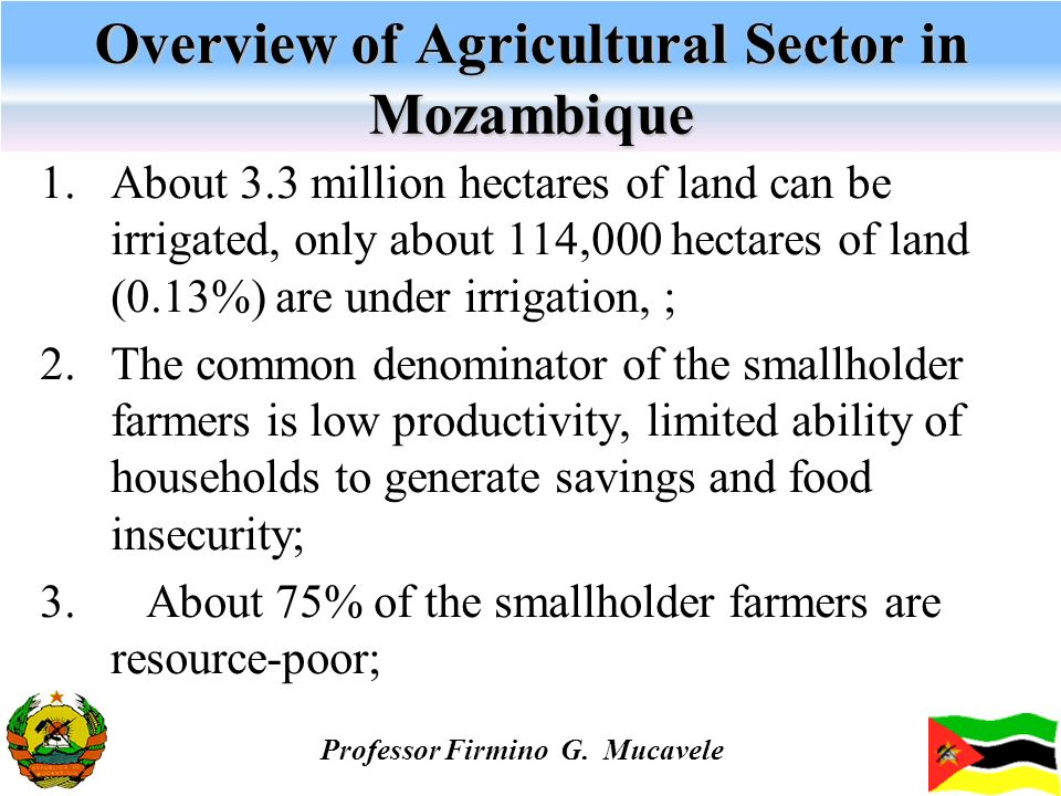 Overview of Agricultural Sector in Mozambique 1.About 3.3 million hectares of land can be irrigated, only about 114,000 hectares of land (0.13%) are u