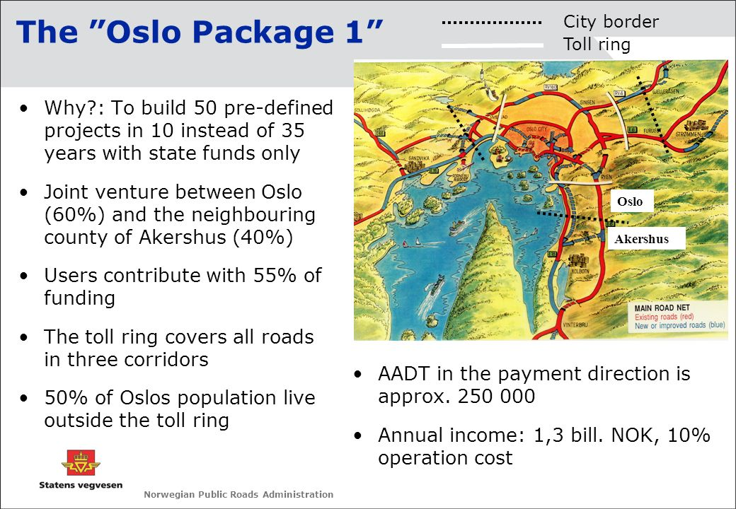Norwegian Public Roads Administration Why?: To build 50 pre-defined projects in 10 instead of 35 years with state funds only Joint venture between Osl