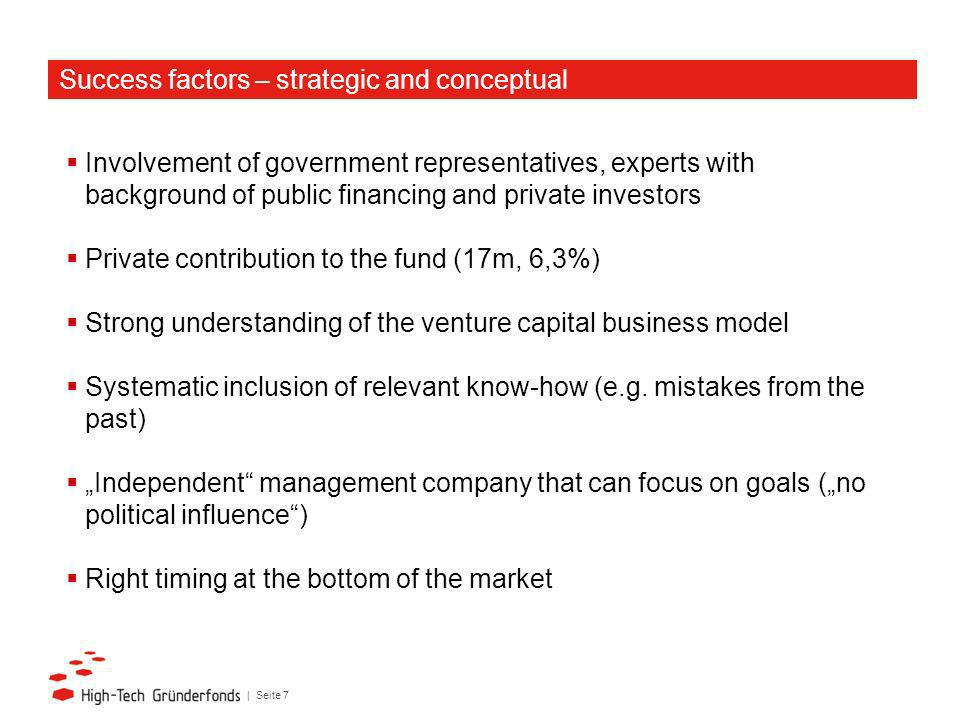 | Seite 7 Involvement of government representatives, experts with background of public financing and private investors Private contribution to the fund (17m, 6,3%) Strong understanding of the venture capital business model Systematic inclusion of relevant know-how (e.g.