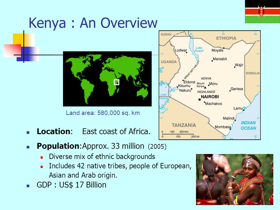 Land area: 580,000 sq. km Kenya : An Overview Location:East coast of Africa.