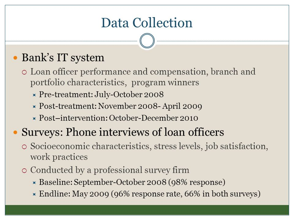 Data Collection Banks IT system Loan officer performance and compensation, branch and portfolio characteristics, program winners Pre-treatment: July-O