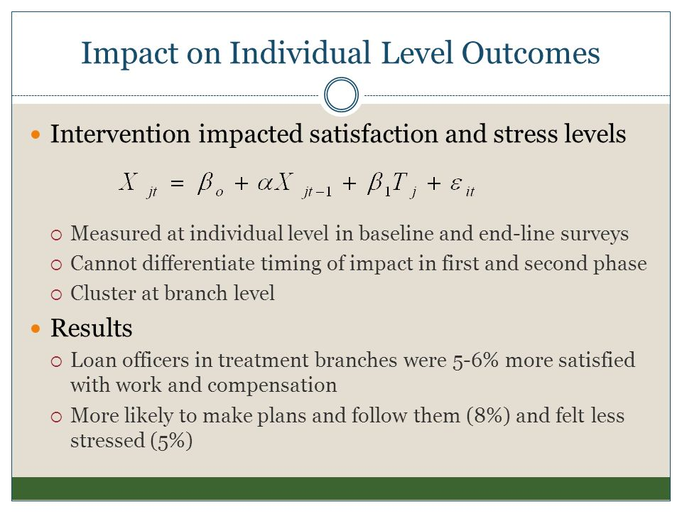 Impact on Individual Level Outcomes Intervention impacted satisfaction and stress levels Measured at individual level in baseline and end-line surveys