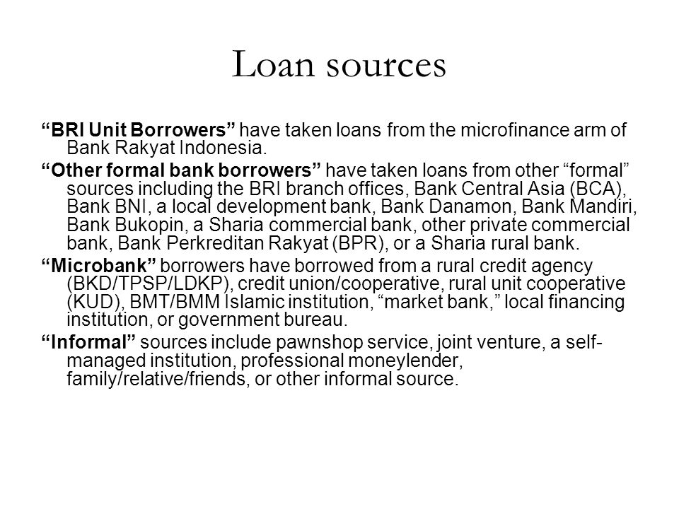 Loan sources BRI Unit Borrowers have taken loans from the microfinance arm of Bank Rakyat Indonesia.