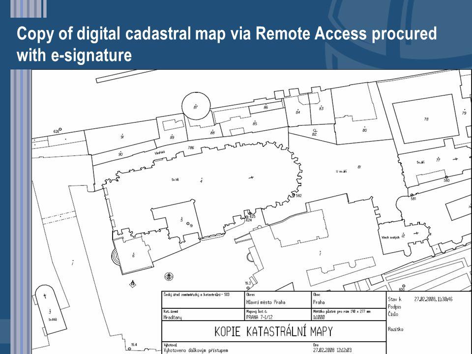 Copy of digital cadastral map via Remote Access procured with e-signature