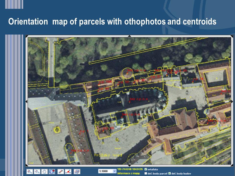 Orientation map of parcels with othophotos and centroids