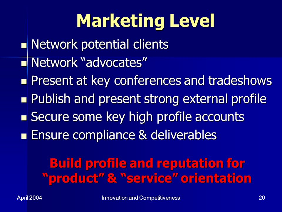April 2004Innovation and Competitiveness20 Marketing Level N Network potential clients etwork advocates P Present at key conferences and tradeshows ublish and present strong external profile S Secure some key high profile accounts E Ensure compliance & deliverables Build profile and reputation for product & service orientation