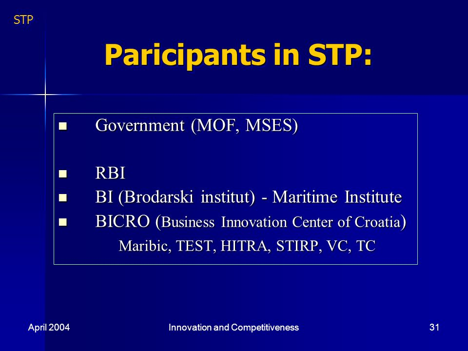 April 2004Innovation and Competitiveness31 Paricipants in STP: Government (MOF, MSES) Government (MOF, MSES) RBI RBI BI (Brodarski institut) - Maritime Institute BI (Brodarski institut) - Maritime Institute BICRO ( Business Innovation Center of Croatia ) BICRO ( Business Innovation Center of Croatia ) Maribic, TEST, HITRA, STIRP, VC, TC Maribic, TEST, HITRA, STIRP, VC, TC STP
