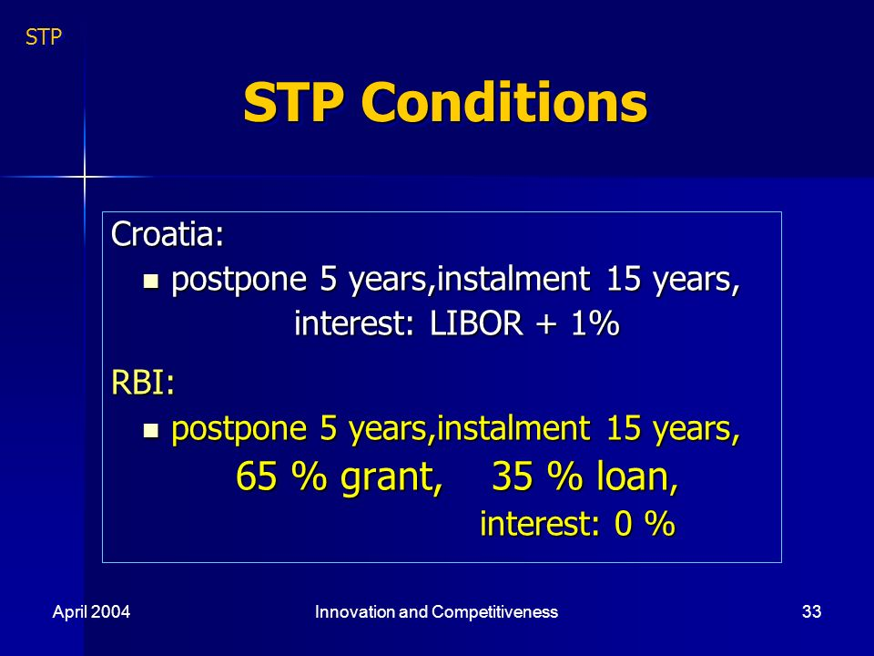 April 2004Innovation and Competitiveness33 STP Conditions Croatia: postpone 5 years,instalment 15 years, postpone 5 years,instalment 15 years, interest: LIBOR + 1% interest: LIBOR + 1%RBI: postpone 5 years,instalment 15 years, postpone 5 years,instalment 15 years, 65 % grant, 35 % loan, 65 % grant, 35 % loan, interest: 0 % interest: 0 % STP