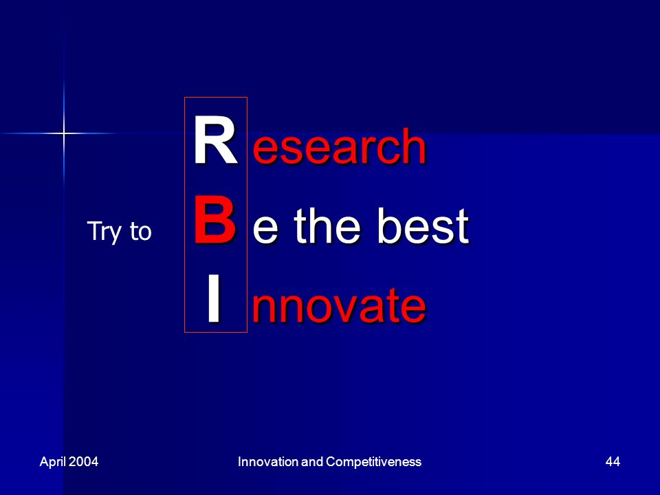 April 2004Innovation and Competitiveness44 R esearch B e the best I nnovate Try to