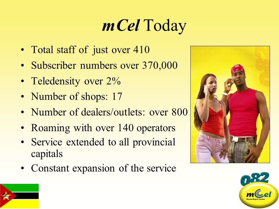 mCel Today Total staff of just over 410 Subscriber numbers over 370,000 Teledensity over 2% Number of shops: 17 Number of dealers/outlets: over 800 Ro
