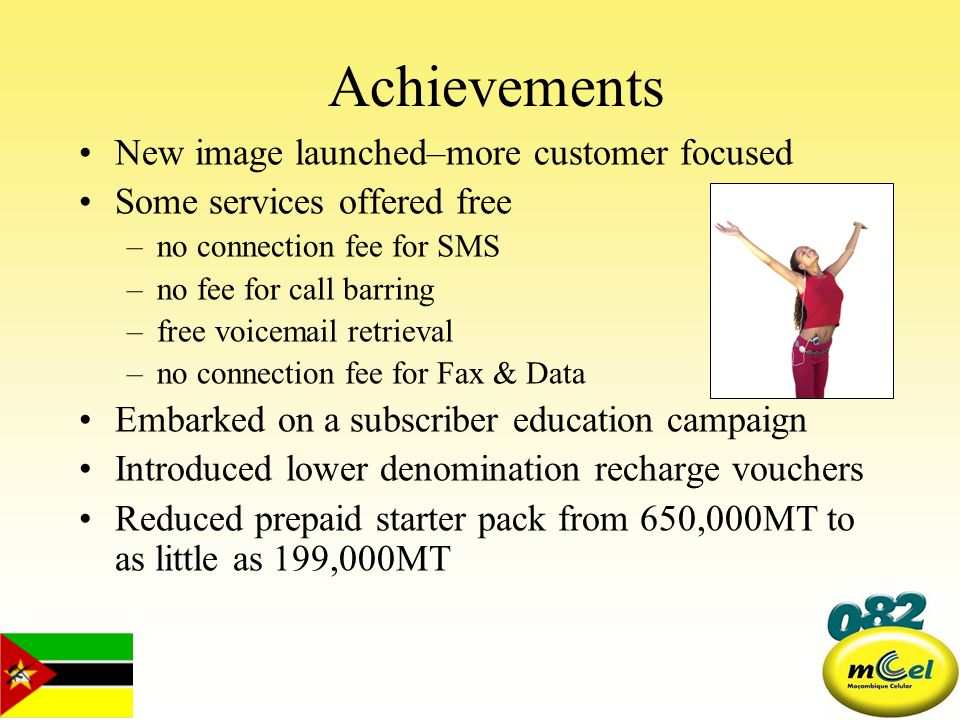Achievements New image launched–more customer focused Some services offered free –no connection fee for SMS –no fee for call barring –free voicemail r