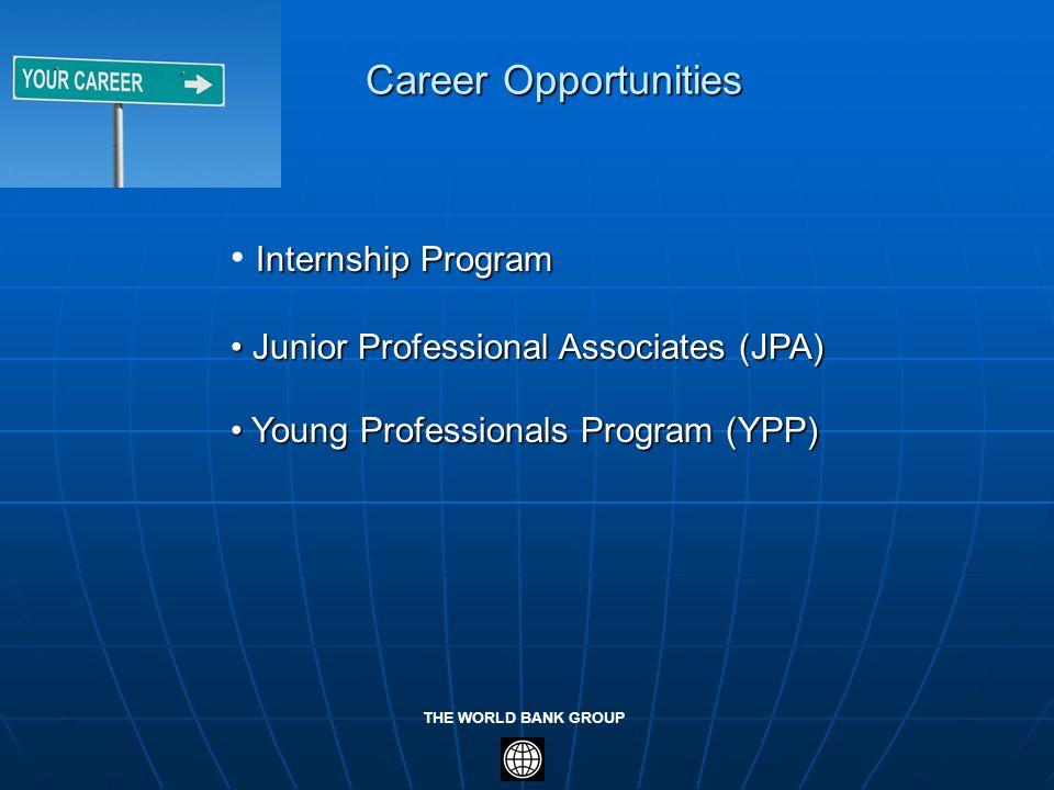 THE WORLD BANK GROUP Internship Program Internship Program Junior Professional Associates (JPA) Junior Professional Associates (JPA) Young Professiona